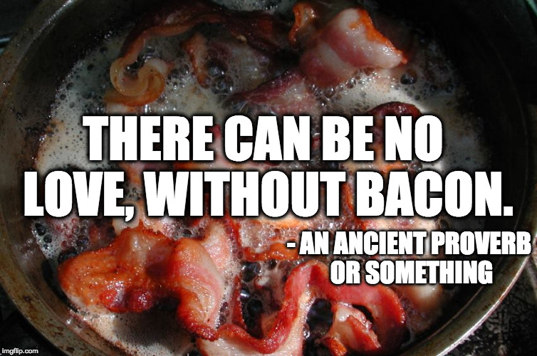 Stole this from davidguitarhero's comment. | THERE CAN BE NO LOVE, WITHOUT BACON. - AN ANCIENT PROVERB OR SOMETHING | image tagged in bacon cooking,proverb,love | made w/ Imgflip meme maker