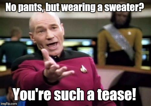 Picard Wtf Meme | No pants, but wearing a sweater? You're such a tease! | image tagged in memes,picard wtf | made w/ Imgflip meme maker