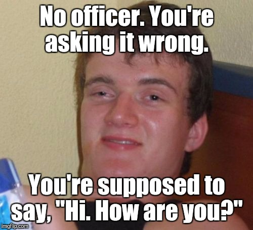 "10 Guy Meme | No officer. You're asking it wrong. You're supposed to say, ""Hi. How are you?"" 
