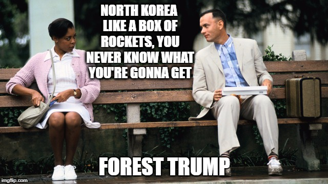 Forest Gump | NORTH KOREA LIKE A BOX OF ROCKETS, YOU NEVER KNOW WHAT YOU'RE GONNA GET FOREST TRUMP | image tagged in forest gump | made w/ Imgflip meme maker