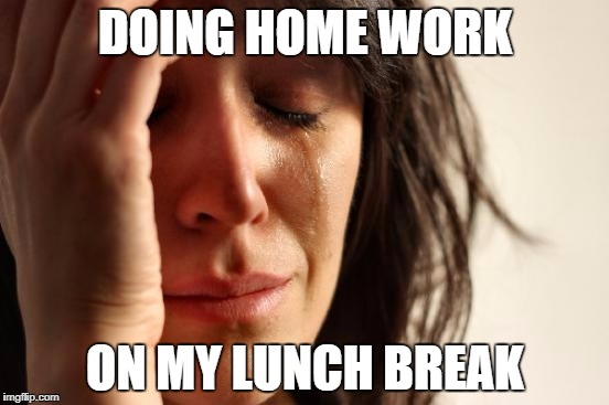 First World Problems Meme | DOING HOME WORK ON MY LUNCH BREAK | image tagged in memes,first world problems | made w/ Imgflip meme maker