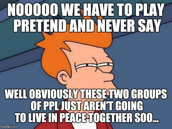 Futurama Fry Meme | NOOOOO WE HAVE TO PLAY PRETEND AND NEVER SAY WELL OBVIOUSLY THESE TWO GROUPS OF PPL JUST AREN'T GOING TO LIVE IN PEACE TOGETHER SOO... | image tagged in memes,futurama fry | made w/ Imgflip meme maker