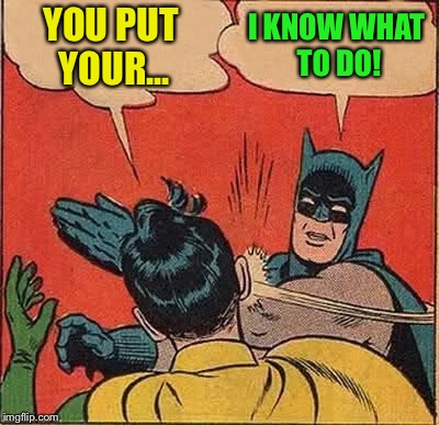 Batman Slapping Robin Meme | YOU PUT YOUR... I KNOW WHAT TO DO! | image tagged in memes,batman slapping robin | made w/ Imgflip meme maker