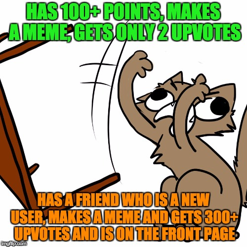 Back on IMGflip | HAS 100+ POINTS, MAKES A MEME, GETS ONLY 2 UPVOTES HAS A FRIEND WHO IS A NEW USER, MAKES A MEME AND GETS 300+ UPVOTES AND IS ON THE FRONT PA | image tagged in angry kitty,how,ironic,funny,grumpy cat,cute | made w/ Imgflip meme maker