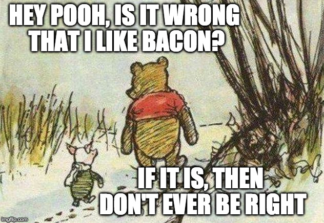 Pooh Piglet | HEY POOH, IS IT WRONG THAT I LIKE BACON? IF IT IS, THEN DON'T EVER BE RIGHT | image tagged in pooh piglet | made w/ Imgflip meme maker