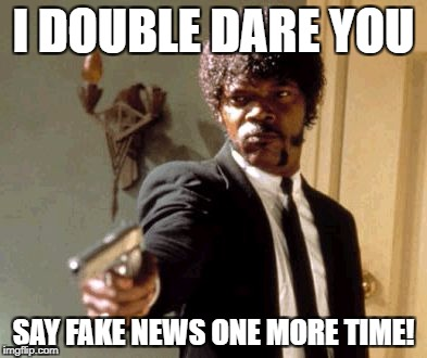 Say That Again I Dare You Meme | I DOUBLE DARE YOU SAY FAKE NEWS ONE MORE TIME! | image tagged in memes,say that again i dare you,fake news,donald trump memes | made w/ Imgflip meme maker