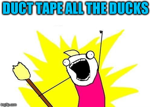 X All The Y Meme | DUCT TAPE ALL THE DUCKS | image tagged in memes,x all the y | made w/ Imgflip meme maker