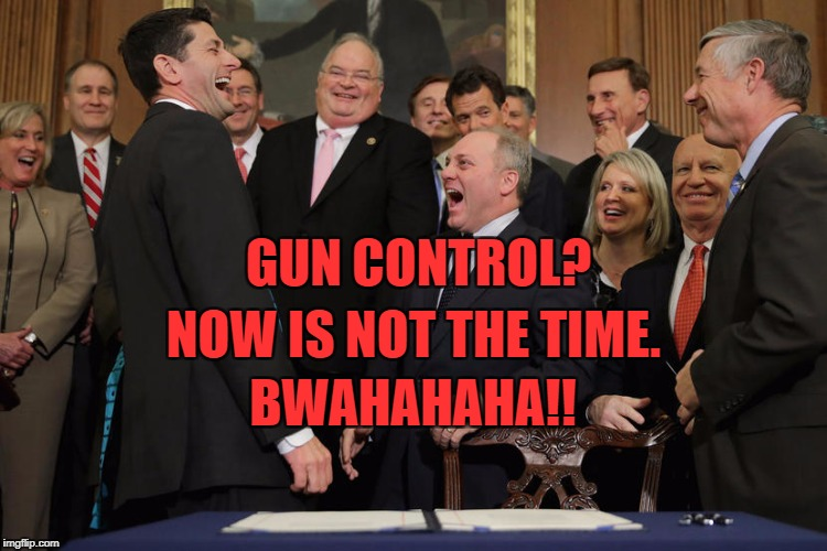 GUN CONTROL? NOW IS NOT THE TIME. BWAHAHAHA!! | image tagged in laughing republicans 20 | made w/ Imgflip meme maker