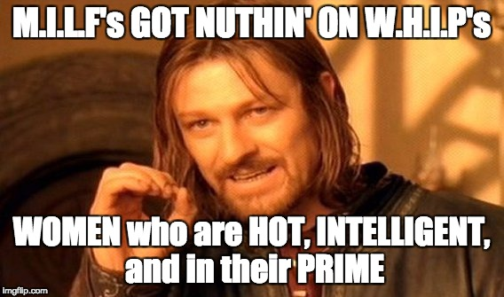 One Does Not Simply Meme | M.I.L.F's GOT NUTHIN' ON W.H.I.P's WOMEN who are HOT, INTELLIGENT, and in their PRIME | image tagged in memes,one does not simply | made w/ Imgflip meme maker