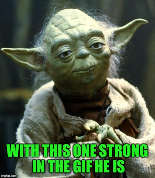Star Wars Yoda Meme | WITH THIS ONE STRONG IN THE GIF HE IS | image tagged in memes,star wars yoda | made w/ Imgflip meme maker