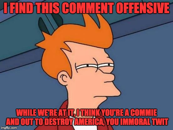 Futurama Fry Meme | I FIND THIS COMMENT OFFENSIVE WHILE WE'RE AT IT, I THINK YOU'RE A COMMIE AND OUT TO DESTROY AMERICA, YOU IMMORAL TWIT | image tagged in memes,futurama fry | made w/ Imgflip meme maker