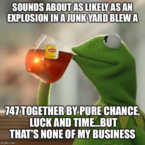 But Thats None Of My Business Meme | SOUNDS ABOUT AS LIKELY AS AN EXPLOSION IN A JUNK YARD BLEW A 747 TOGETHER BY PURE CHANCE, LUCK AND TIME...BUT THAT'S NONE OF MY BUSINESS | image tagged in memes,but thats none of my business,kermit the frog | made w/ Imgflip meme maker