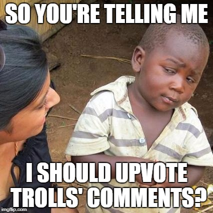 Third World Skeptical Kid Meme | SO YOU'RE TELLING ME I SHOULD UPVOTE TROLLS' COMMENTS? | image tagged in memes,third world skeptical kid | made w/ Imgflip meme maker
