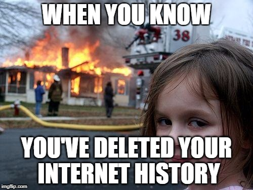 Disaster Girl Meme | WHEN YOU KNOW YOU'VE DELETED YOUR INTERNET HISTORY | image tagged in memes,disaster girl | made w/ Imgflip meme maker