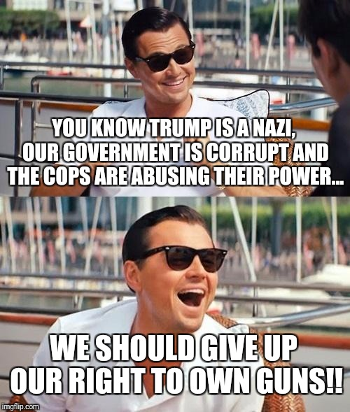 Leonardo Dicaprio Wolf Of Wall Street Meme | YOU KNOW TRUMP IS A NAZI, OUR GOVERNMENT IS CORRUPT AND THE COPS ARE ABUSING THEIR POWER... WE SHOULD GIVE UP OUR RIGHT TO OWN GUNS!! | image tagged in memes,leonardo dicaprio wolf of wall street | made w/ Imgflip meme maker