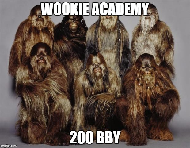 This was the Wookie Academy 200 years before the Battle of Yavin | WOOKIE ACADEMY 200 BBY | image tagged in wookies,star wars,forest world problems,memes,academy awards,battle of yavin | made w/ Imgflip meme maker