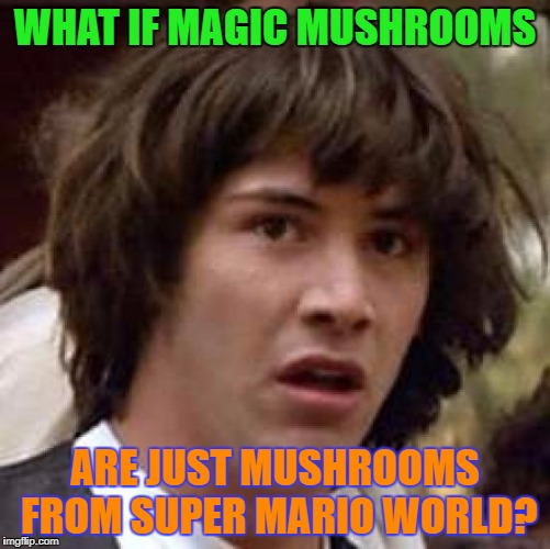 Conspiracy Keanu Meme | WHAT IF MAGIC MUSHROOMS ARE JUST MUSHROOMS FROM SUPER MARIO WORLD? | image tagged in memes,conspiracy keanu | made w/ Imgflip meme maker
