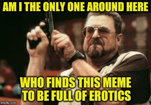 Am I The Only One Around Here Meme | AM I THE ONLY ONE AROUND HERE WHO FINDS THIS MEME TO BE FULL OF EROTICS | image tagged in memes,am i the only one around here | made w/ Imgflip meme maker