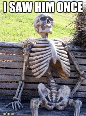 Waiting Skeleton Meme | I SAW HIM ONCE | image tagged in memes,waiting skeleton | made w/ Imgflip meme maker