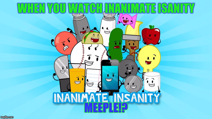 Inanimate insanity | WHEN YOU WATCH INANIMATE ISANITY MEEPLE!? | image tagged in inanimate insanity,memes,funny,meeple | made w/ Imgflip meme maker