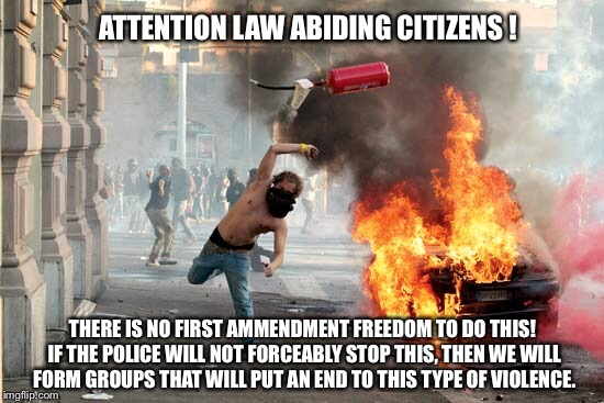 Stop unlawfull anarchists | ATTENTION LAW ABIDING CITIZENS ! THERE IS NO FIRST AMMENDMENT FREEDOM TO DO THIS! IF THE POLICE WILL NOT FORCEABLY STOP THIS, THEN WE WILL F | image tagged in antifa,thugs,violence,vigilante,anarchy,blm | made w/ Imgflip meme maker
