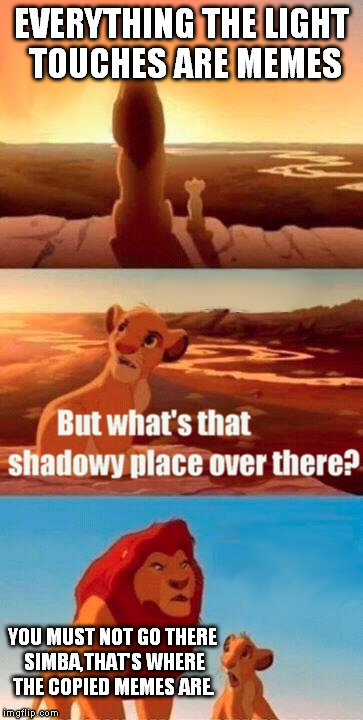 Simba Shadowy Place Meme | EVERYTHING THE LIGHT TOUCHES ARE MEMES YOU MUST NOT GO THERE SIMBA,THAT'S WHERE THE COPIED MEMES ARE. | image tagged in memes,simba shadowy place | made w/ Imgflip meme maker