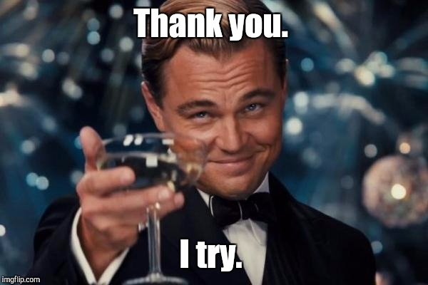 Leonardo Dicaprio Cheers Meme | Thank you. I try. | image tagged in memes,leonardo dicaprio cheers | made w/ Imgflip meme maker