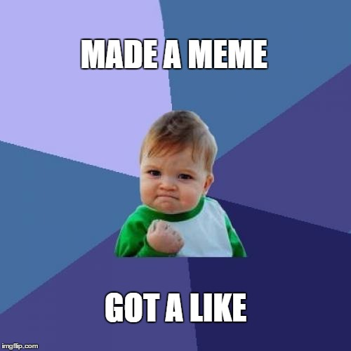 You lot on imgflip are a hard bunch to please | MADE A MEME GOT A LIKE | image tagged in memes,success kid | made w/ Imgflip meme maker
