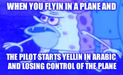 Spongegar Meme | WHEN YOU FLYIN IN A PLANE AND THE PILOT STARTS YELLIN IN ARABIC AND LOSING CONTROL OF THE PLANE | image tagged in memes,spongegar | made w/ Imgflip meme maker