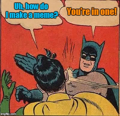 Batman Slapping Robin Meme | Uh, how do I make a meme? You're in one! | image tagged in memes,batman slapping robin | made w/ Imgflip meme maker