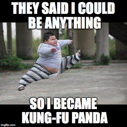 Fat kid jump kick | THEY SAID I COULD BE ANYTHING SO I BECAME KUNG-FU PANDA | image tagged in fat kid jump kick | made w/ Imgflip meme maker