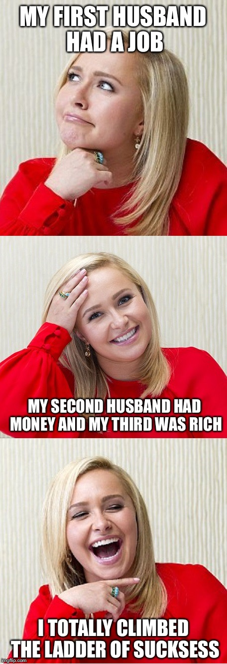 Bad Pun Hayden 2 | MY FIRST HUSBAND HAD A JOB I TOTALLY CLIMBED THE LADDER OF SUCKSESS MY SECOND HUSBAND HAD MONEY AND MY THIRD WAS RICH | image tagged in bad pun hayden 2 | made w/ Imgflip meme maker