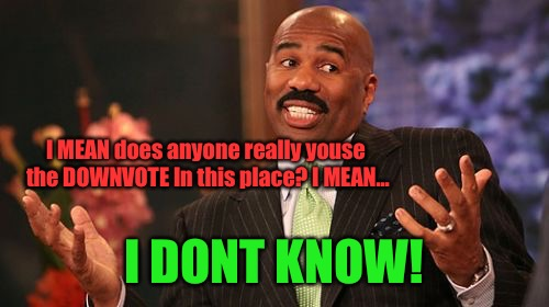 Steve Harvey Meme | I MEAN does anyone really youse the DOWNVOTE In this place? I MEAN... I DONT KNOW! | image tagged in memes,steve harvey | made w/ Imgflip meme maker
