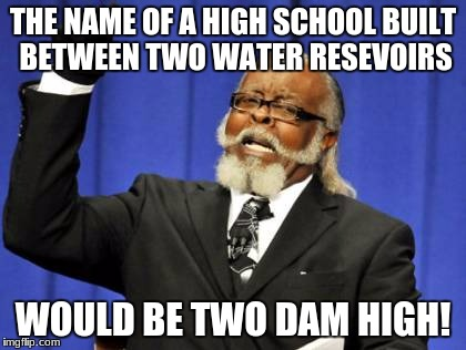 Too Damn High Meme | THE NAME OF A HIGH SCHOOL BUILT BETWEEN TWO WATER RESEVOIRS WOULD BE TWO DAM HIGH! | image tagged in memes,too damn high | made w/ Imgflip meme maker