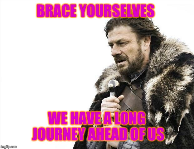 Brace Yourselves X is Coming Meme | BRACE YOURSELVES WE HAVE A LONG JOURNEY AHEAD OF US | image tagged in memes,brace yourselves x is coming | made w/ Imgflip meme maker
