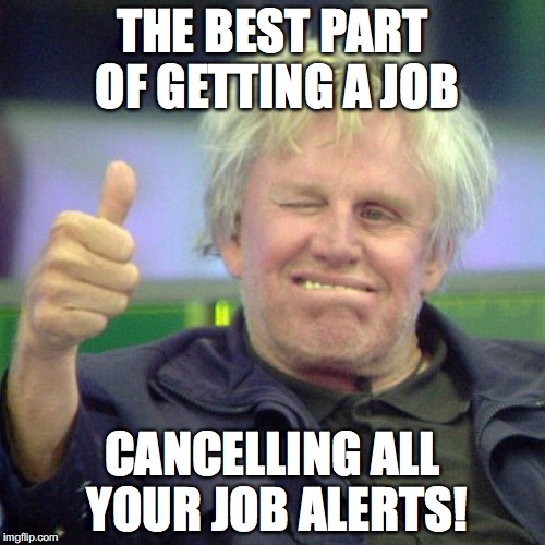 THE BEST PART OF GETTING A JOB CANCELLING ALL YOUR JOB ALERTS! | image tagged in busey thumbs up | made w/ Imgflip meme maker