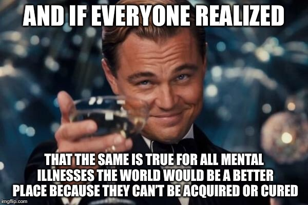 Leonardo Dicaprio Cheers Meme | AND IF EVERYONE REALIZED THAT THE SAME IS TRUE FOR ALL MENTAL ILLNESSES THE WORLD WOULD BE A BETTER PLACE BECAUSE THEY CAN'T BE ACQUIRED OR  | image tagged in memes,leonardo dicaprio cheers | made w/ Imgflip meme maker