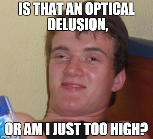 10 Guy Meme | IS THAT AN OPTICAL DELUSION, OR AM I JUST TOO HIGH? | image tagged in memes,10 guy | made w/ Imgflip meme maker