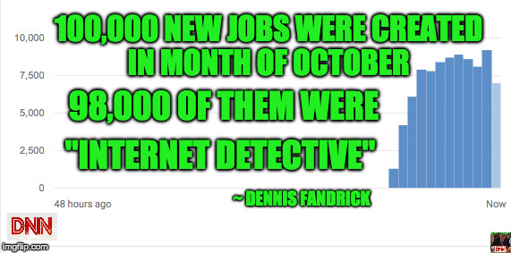 "100,000 NEW JOBS WERE CREATED IN MONTH OF OCTOBER 98,000 OF THEM WERE ""INTERNET DETECTIVE"" ~ DENNIS FANDRICK 