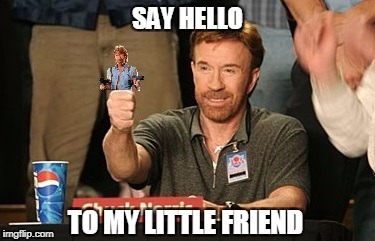 Chuck Norris Little Friend | SAY HELLO TO MY LITTLE FRIEND | image tagged in chuck norris,little friend,memes | made w/ Imgflip meme maker