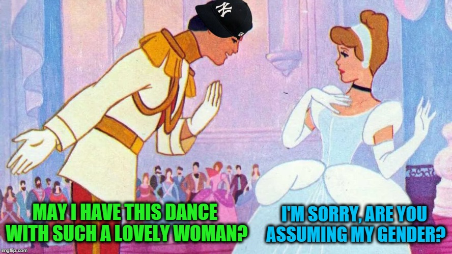 MAY I HAVE THIS DANCE WITH SUCH A LOVELY WOMAN? I'M SORRY, ARE YOU ASSUMING MY GENDER? | made w/ Imgflip meme maker