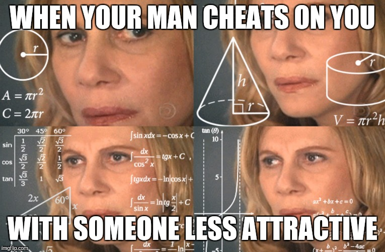 CONFUSED MATH LADY |  WHEN YOUR MAN CHEATS ON YOU; WITH SOMEONE LESS ATTRACTIVE | image tagged in confused math lady | made w/ Imgflip meme maker