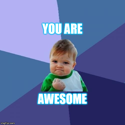 Success Kid Meme | YOU ARE AWESOME | image tagged in memes,success kid | made w/ Imgflip meme maker