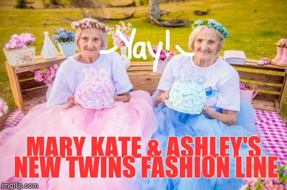 Birthday Twins | MARY KATE & ASHLEY'S NEW TWINS FASHION LINE | image tagged in loyalsockatxhamster,fashion,funny memes,twins,mary kate  ashley olsen | made w/ Imgflip meme maker