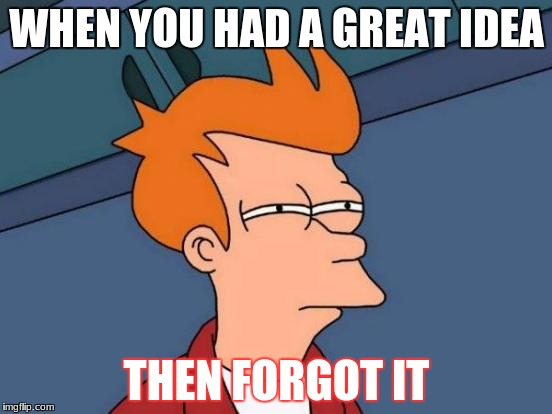 Futurama Fry Meme | WHEN YOU HAD A GREAT IDEA THEN FORGOT IT | image tagged in memes,futurama fry | made w/ Imgflip meme maker