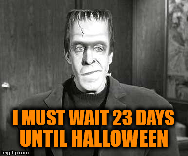 Halloween Countdown | I MUST WAIT 23 DAYS UNTIL HALLOWEEN | image tagged in halloween is coming | made w/ Imgflip meme maker