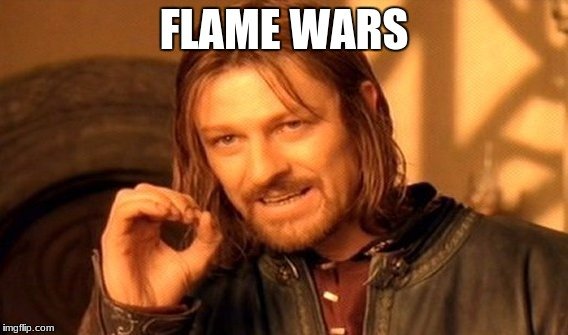 One Does Not Simply Meme | FLAME WARS | image tagged in memes,one does not simply | made w/ Imgflip meme maker