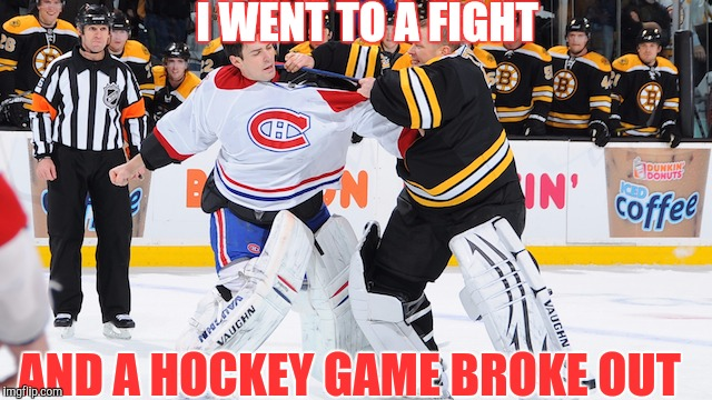 I WENT TO A FIGHT AND A HOCKEY GAME BROKE OUT | made w/ Imgflip meme maker