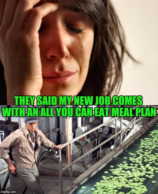 THEY SAID MY NEW JOB COMES WITH AN ALL YOU CAN EAT MEAL PLAN | made w/ Imgflip meme maker