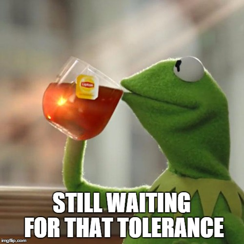 But Thats None Of My Business Meme | STILL WAITING FOR THAT TOLERANCE | image tagged in memes,but thats none of my business,kermit the frog | made w/ Imgflip meme maker